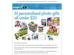 Snapfish 20% off for 61 Items below $20 + P&H