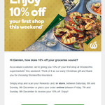Woolworths 10% off for Existing Woolworths Insurance Customers This Weekend (Maybe Targeted)