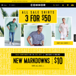 3 Shirts for $50 @ Connor