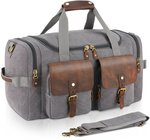 Plambag Leather Canvas Tote Duffel Bag Grey 20% off Sale $55.99 + Free Shipping @ Plambag Amazon AU