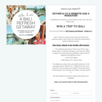 Win a Trip for 2 to Bali (Includes 7-Day Yoga Retreat) Worth over $9,000 from Esther & Co
