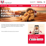 9 Pieces of Chicken for $9.95 (4/6-9/7), BOGOF Fillet Burger 2 for $6 (28/5, EXPIRED) @ KFC