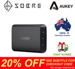 AUKEY 60W USB-C PD 3.0 Dual USB Port Wall Charger Charging Station $55.96 Delivered @ SOBRE eBay Store