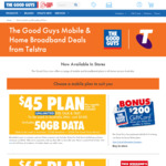 Telstra $65 Per Month (12 Month Plan) 60GB Data Unlimited Talk/Text Plus $400 Gift Card @ The Good Guys