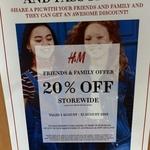 20% off (Minimum $60 Spend) @ H&M
