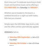 [QLD] Get a $15 Free Ride with DiDi - Gold Coast & Sunshine Coast