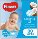 HUGGIES Baby Wipes Soft Pack Coconut, 80 Wipes $4.00 + Delivery ($0 with Prime/ $39 Spend) @ Amazon AU