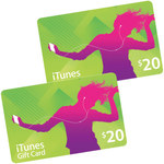2x $20 iTunes Gift Card for $20 (Plus Shipping ~ $2.85)
