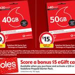 Vodafone $30/$40 Pre-Paid Starter Pack for $10/$15 & Receive Bonus $5 Coles eGift Card upon SIM Activation @ Coles