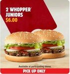 2 Whopper Juniors $6 (Normally $10.60) - Hungry Jack's (via App)