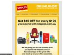 Staples Coupon - $15 off for Every $100 Spent, Free Delivery over $55