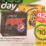 Pepsi Solo Schweppes Sunkist 375ml 24 Pack $10 ($12 in SA) at Woolworths (41c/Can)