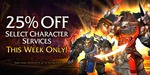 25% off Select Character Services - World of Warcraft: Warlords of Draenor