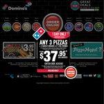 Domino's 3x Traditional Pizzas + 2x Garlic Bread, 2x 1.25L Coke $29.95 Delivered
