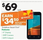 Vodafone Smart First 3G Mobile Phone $69 ($34.50 after Half Price Coupon + Bonus $34.50 Woolworths Dollars) @ Woolworths
