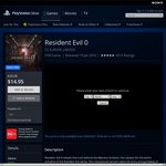 Resident Evil 0 on PS4 50% off $14.95 @PSN Store (AU)
