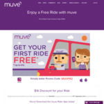 [VIC/QLD] $16 off Your First Ride, $10 off Next 3 Rides with Muve Rideshare