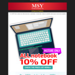 MSY 10% off All Notebooks