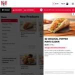 KFC Sliders $2: Pepper Mayo, BBQ and Supercharged (excl. SA)