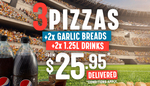 3x Traditional/Vegetarian/Value Pizzas + 2x Garlic Breads + 2x 1.25L Drinks $25.95 Delivered @ Domino's (Facebook Required)