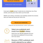 3 Free Months of Audible Trial + 1 Extra Credit in The First Month (Lapsed Membership Offer) @ Audible AU