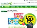 Woolworths - Huggies Jumbo Nappies $30 (Save $3) + 14 Cents/Ltr off Fuel Docket - 13/07 to 15/07