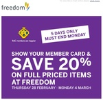 Freedom 20% off with RACWA Membership Card