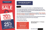 Sheridan Factory Outlet - 3 Day VIP Event Save up to 70% Additional 25% off Everything for VIP