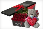 Valentine's Day Roses from $35 for 6 Inc. Delivery + Toy Bear (VIC, NSW, BNE) (Save $90+)