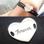 925 Sterling Silver Suede Wrap Personalized Engraved Name Tag Bracelet $28 Delivered