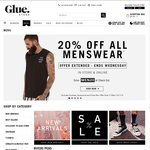 EXTENDED: Glue Store 20% off MENS CLOTHING - No Minimum Spend, Free Delivery on Orders > $75
