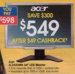 """Acer AL2423WD 24"""" LCD Monitor $549 @ Officeworks"""