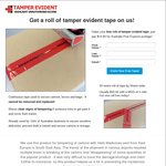 Free Roll of Tamper Evident Security Tape - Just Pay $10.85 Express Postage