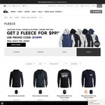 Mens Fleece Jumpers/Hoodies 2 for $99 Delivered (Very Limited Range) @ Quiksilver.com.au