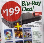 Toshiba Blu-Ray Disc Player + HDMI Cable + 6 Blu-Ray Movie Discs $199 @ Woolworths
