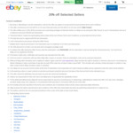 20% off 22 Selected Stores @ eBay (Starts 10am)