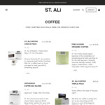 20% off + Free Shipping on Orders over $50 @ St Ali Coffee