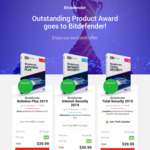 Bitdefender Total Security $29.99, Bitdefender Internet Security $29.99, Antivirus Plus $29.99 @ Bitdefender