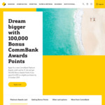 100,000 Bonus CommBank Points - Platinum Awards Credit Card (Spend $4000 by 31 Oct 19, $249 Annual Fee) @ Commonwealth Bank