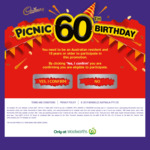 Win 1 of 1000 $60 Woolworths eGift Cards from Mondelez [Purchase 2 Cadbury Chocolate Bars from Woolworths]