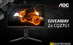 """Win 1 of 2 AOC CQ27G1 27"""" 144Hz FreeSync Curved Gaming Monitors from AOC Gaming/PCMR"""