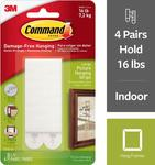 [Amazon Prime] 3M Command Picture and Frame Hanging Strips, Large, White, 4-Pairs $5.67 Delivered @ Amazon US via AU