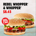 1x Rebel Whopper Burger (Plant Based) & 1x Whopper Beef Burger $8.45 @ Hungry Jack's (Mobile App)