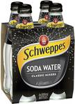 ½ Price Schweppes Soda Water Bottles 4×300ml $2.62-$2.97 @ Woolworths