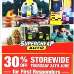 [First Responders] 30% off Storewide in-Store, Excludes Services, Gift Cards, Tyres @ Supercheap Auto