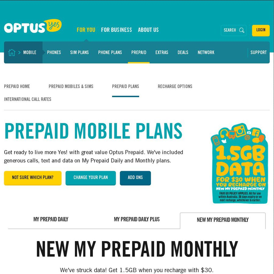 Optus prepaid plans and rates