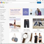 $20 off $100+ Spend on Fashion, Health & Beauty, Jewellery & Watches Categories on eBay