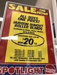 Hudson Sunout Roller Blinds All Sizes $20 Each @ Spotlight