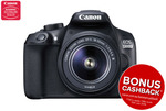 Canon 1300D DSLR Camera with EFS18-55mm III Lens $498 + Shipping with $30 Cashback @ Kogan