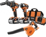 AEG 18V 4.0ah 3 Piece Brushless Cordless Set - Impact Driver, Hammer Drill, Blower $299 (Was $499) @ Bunnings